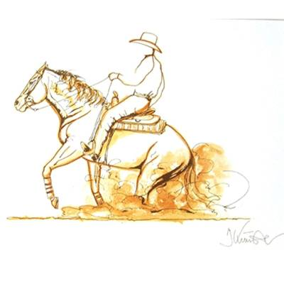 Stop, Western Reining Art Print by Jan Kunster