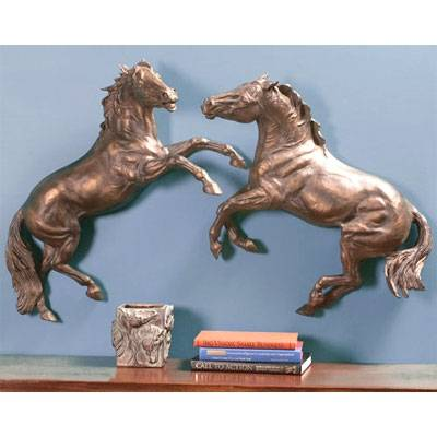 Beverly Zimmer Dueling Stallions Wall Sculpture