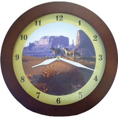 Gabriele Boiselle Wall Clock-Cowboy in the Hi Desert