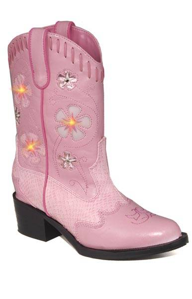 Roper Kids Faux Leather Western Lights Cowgirl Boots