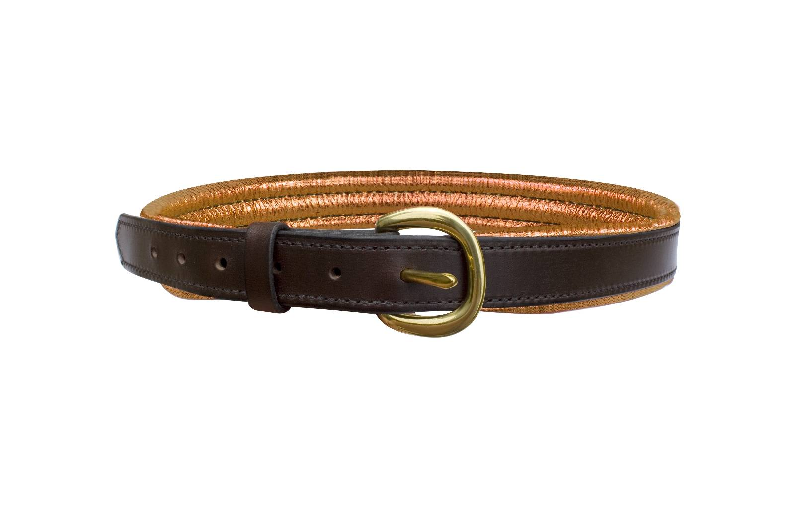 Perris Metallic Wide Padded Leather Belt - Ladies
