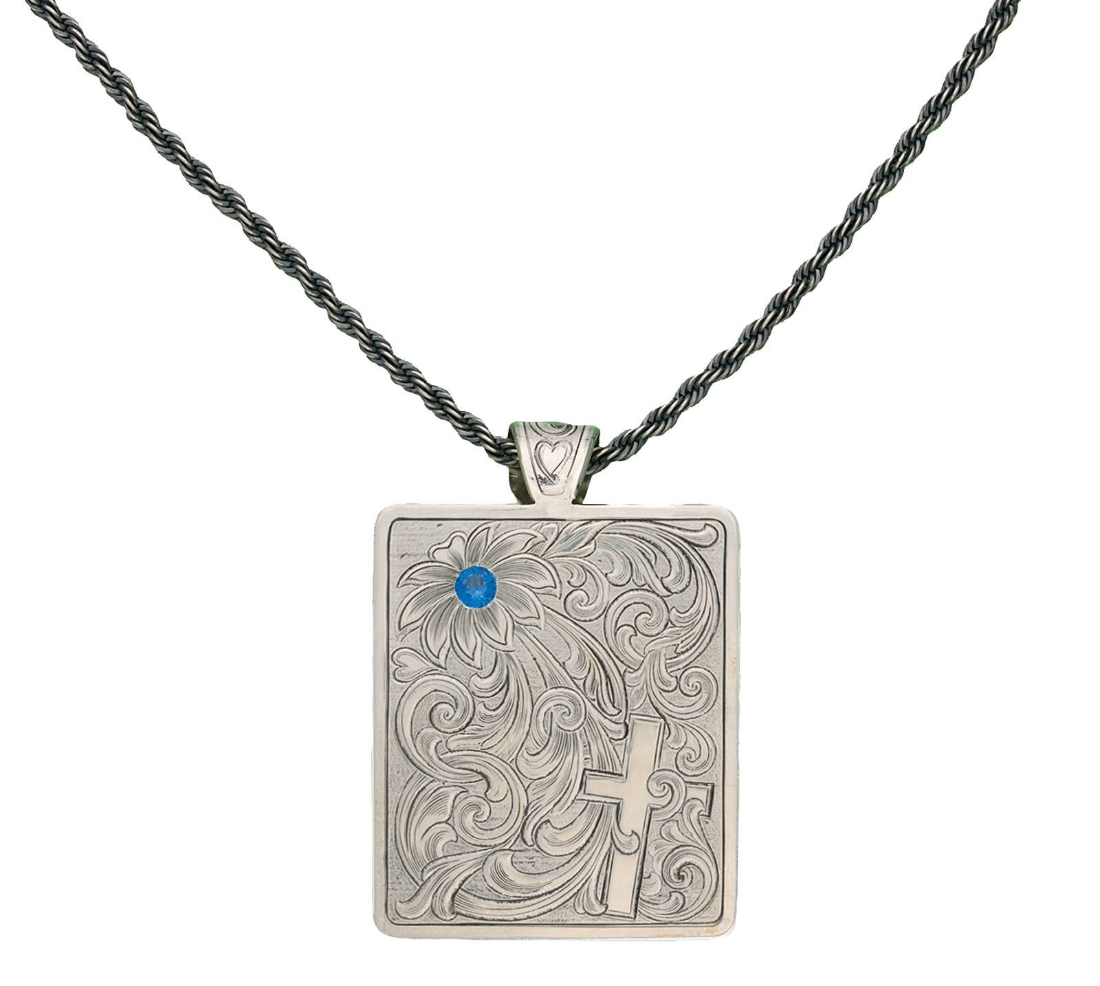 Montana Silversmiths True Blue Bitterroot Flower Silver Engraved Necklace