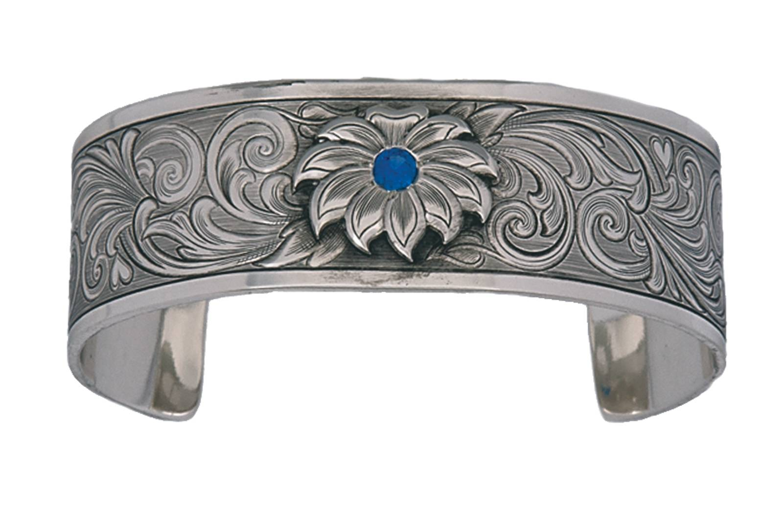 Montana Silversmiths True Blue Bitterroot Flower Silver Engraved Bracelet