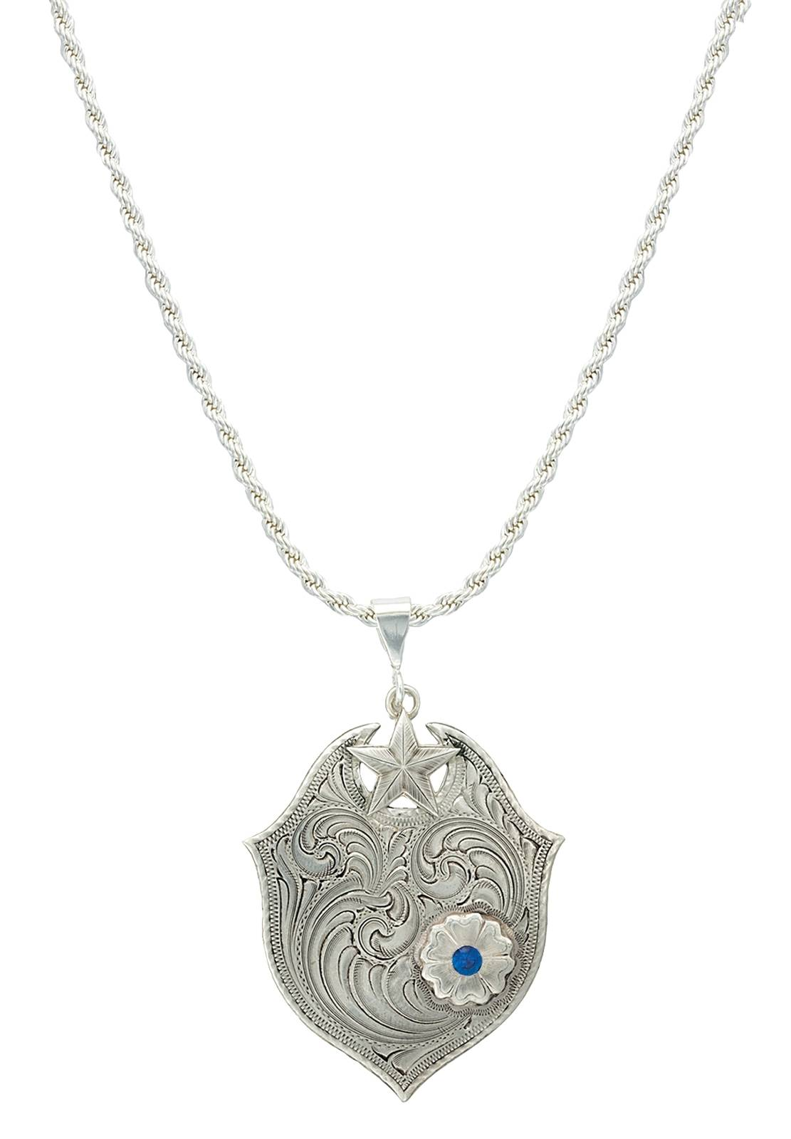 Montana Silversmiths True Blue Wildflower Silver Engraved Necklace