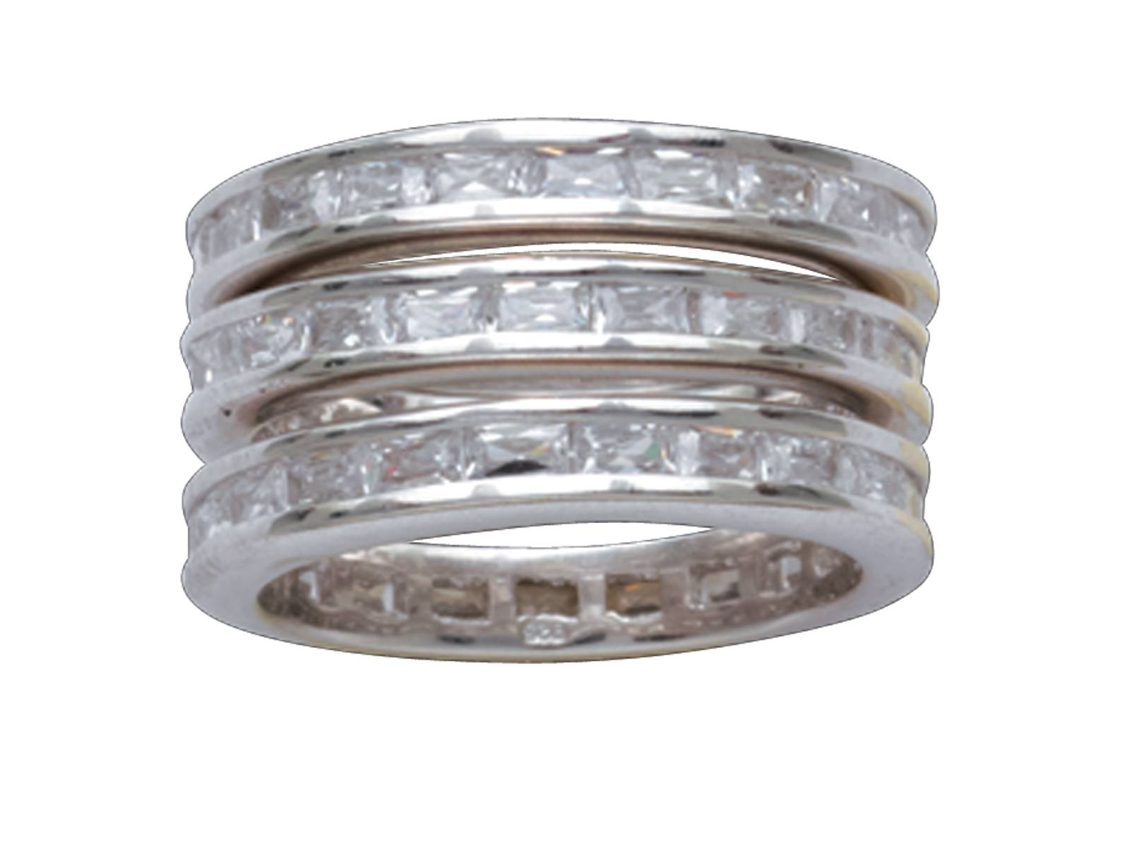 Montana Silversmiths Silver Channels Triple Stack Ring