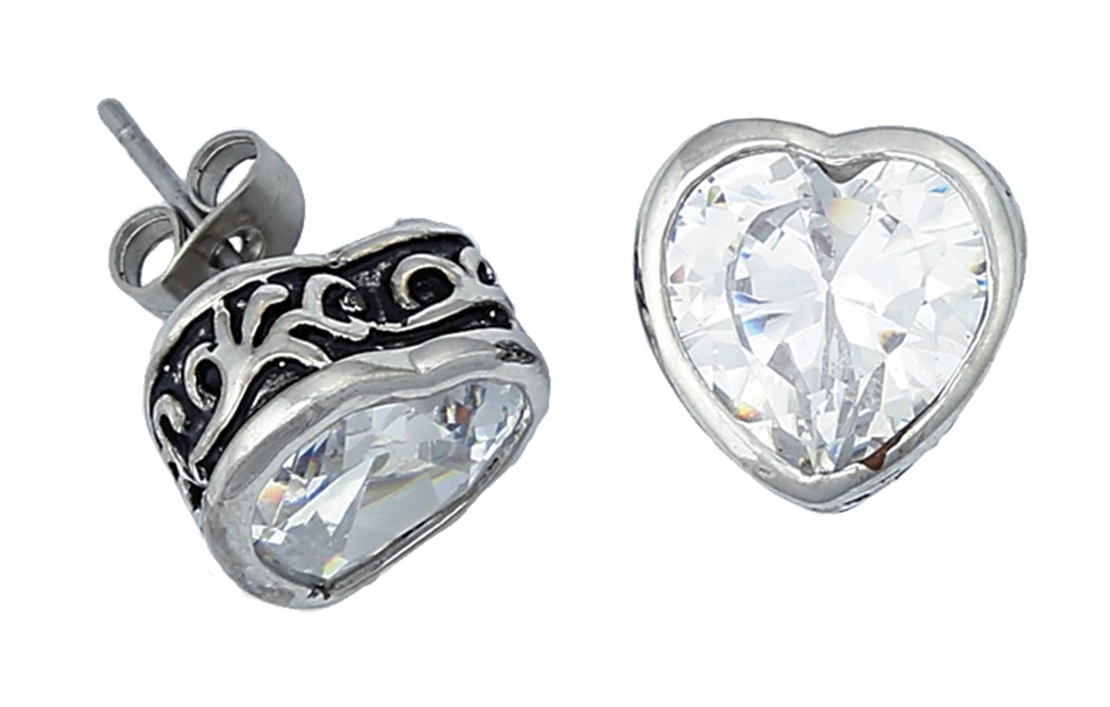 Montana Silversmiths Crystal Heart Filigree Channel Stud Earrings