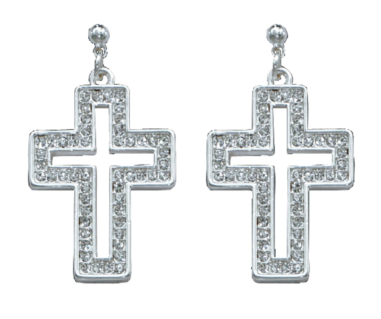 Montana Silversmiths Open Cross In Crystal Frame Earrings