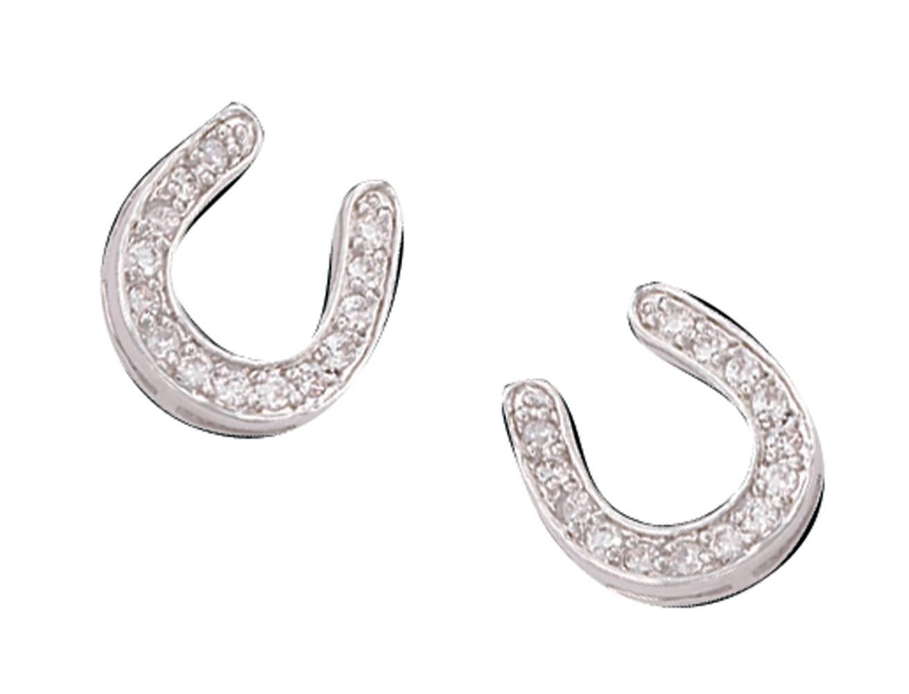 Montana Silversmiths Crystal Horseshoe Button Earrings