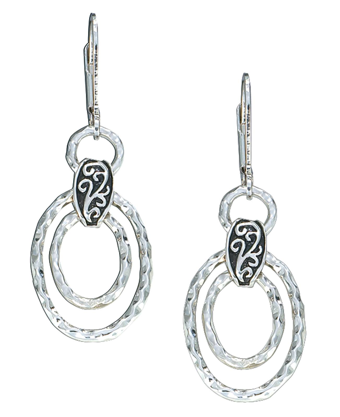 Montana Silversmiths Hammered Ovals Dangle Earrings