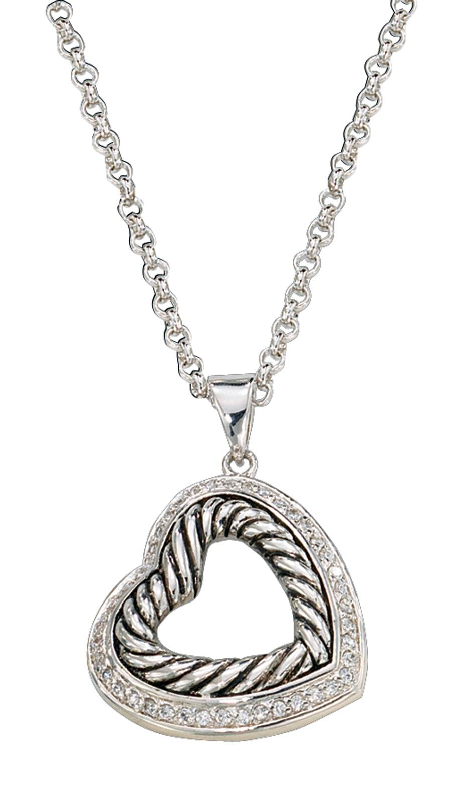 Montana Silversmiths Nested Silver and Twisted Rope Hearts Necklace