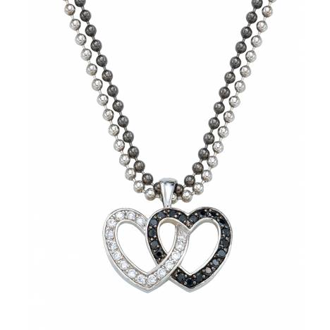 Montana Silversmiths Crystal and Black Double Heart Pendant Necklace