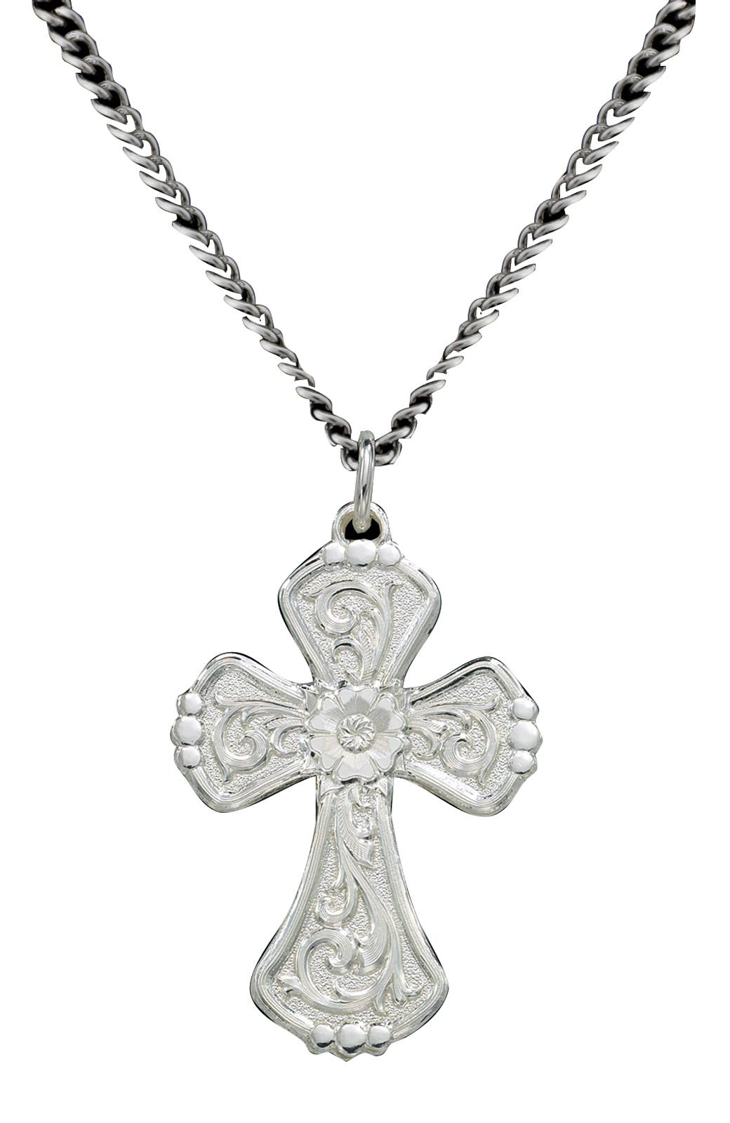 Montana Silversmiths Reversible Shiny Or Antiqued Silver Filigree Cross Pendant Necklace