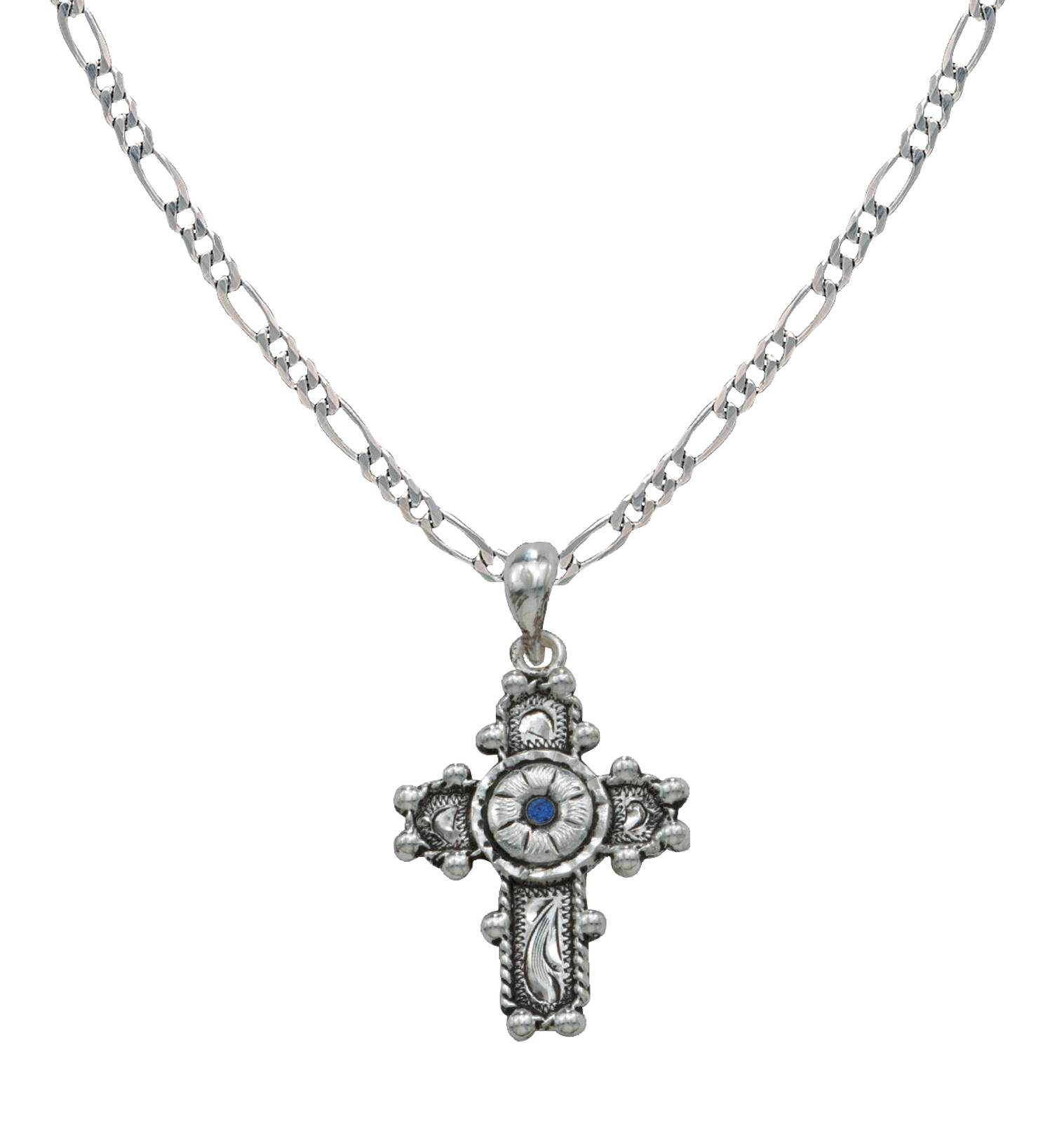 Montana Silversmiths Beaded Cross with Blue Flower