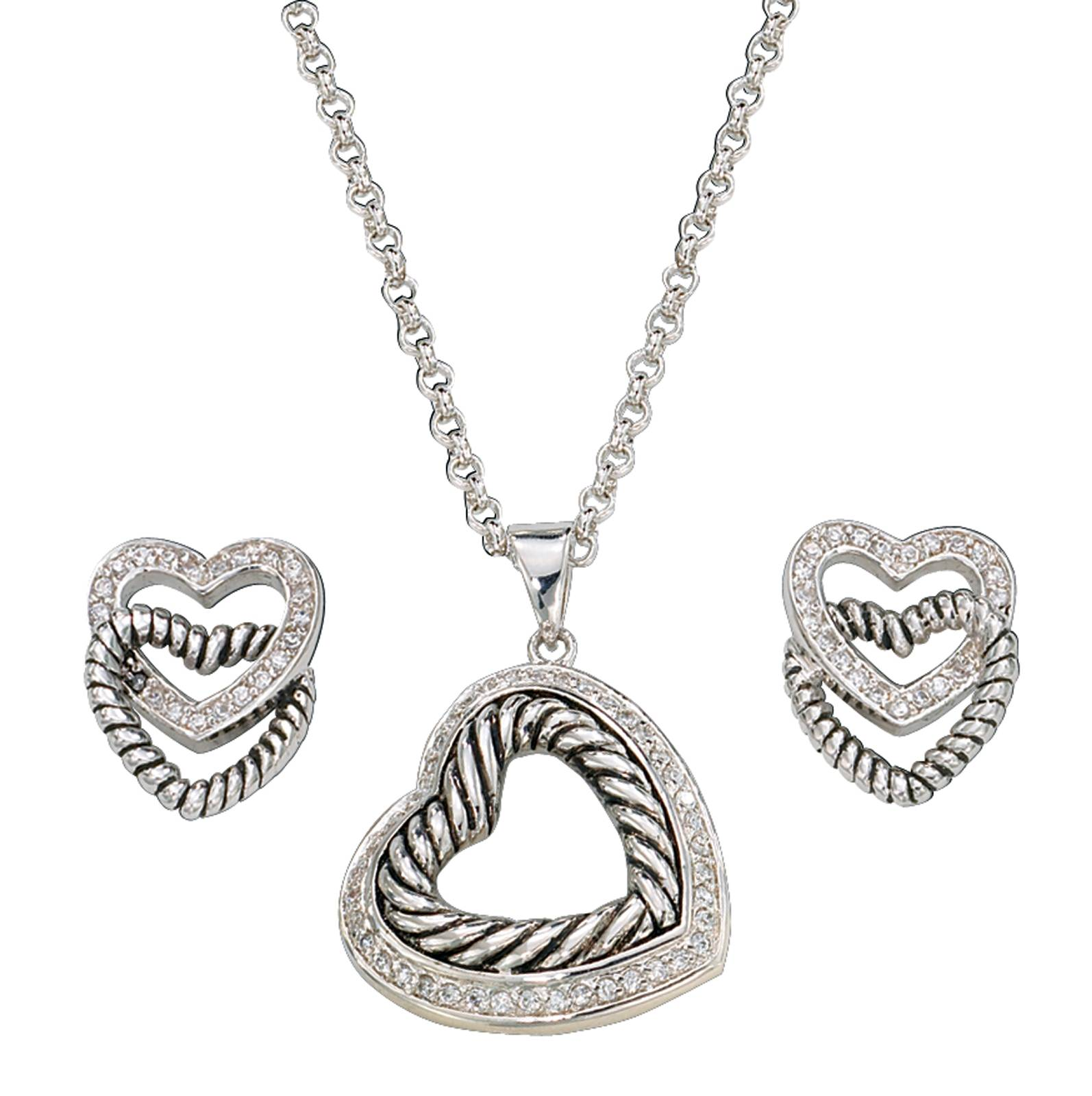 Montana Silversmiths Nested Silver and Twisted Rope Hearts Jewelry Set