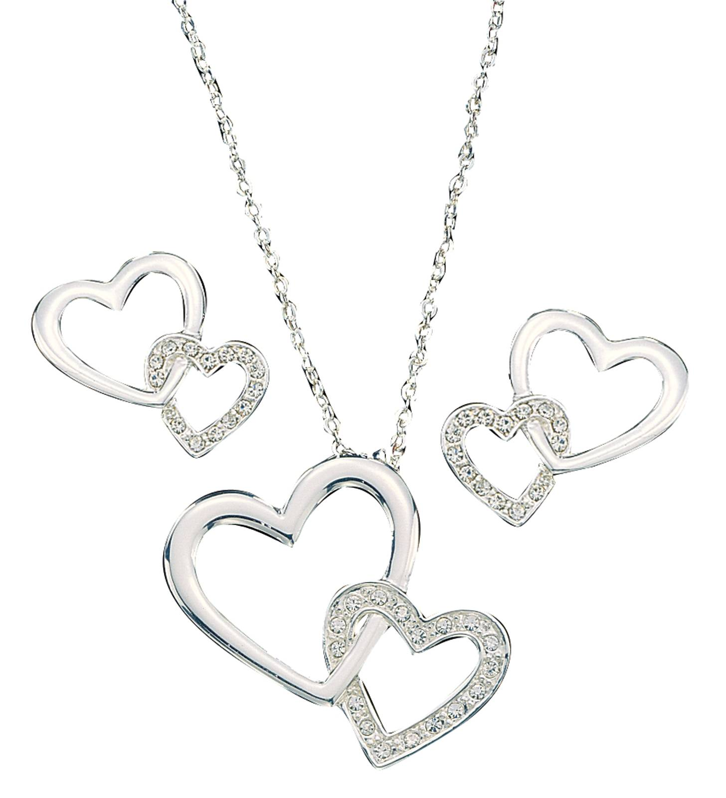 Montana Silversmiths Double Heart with Crystal Jewelry Set