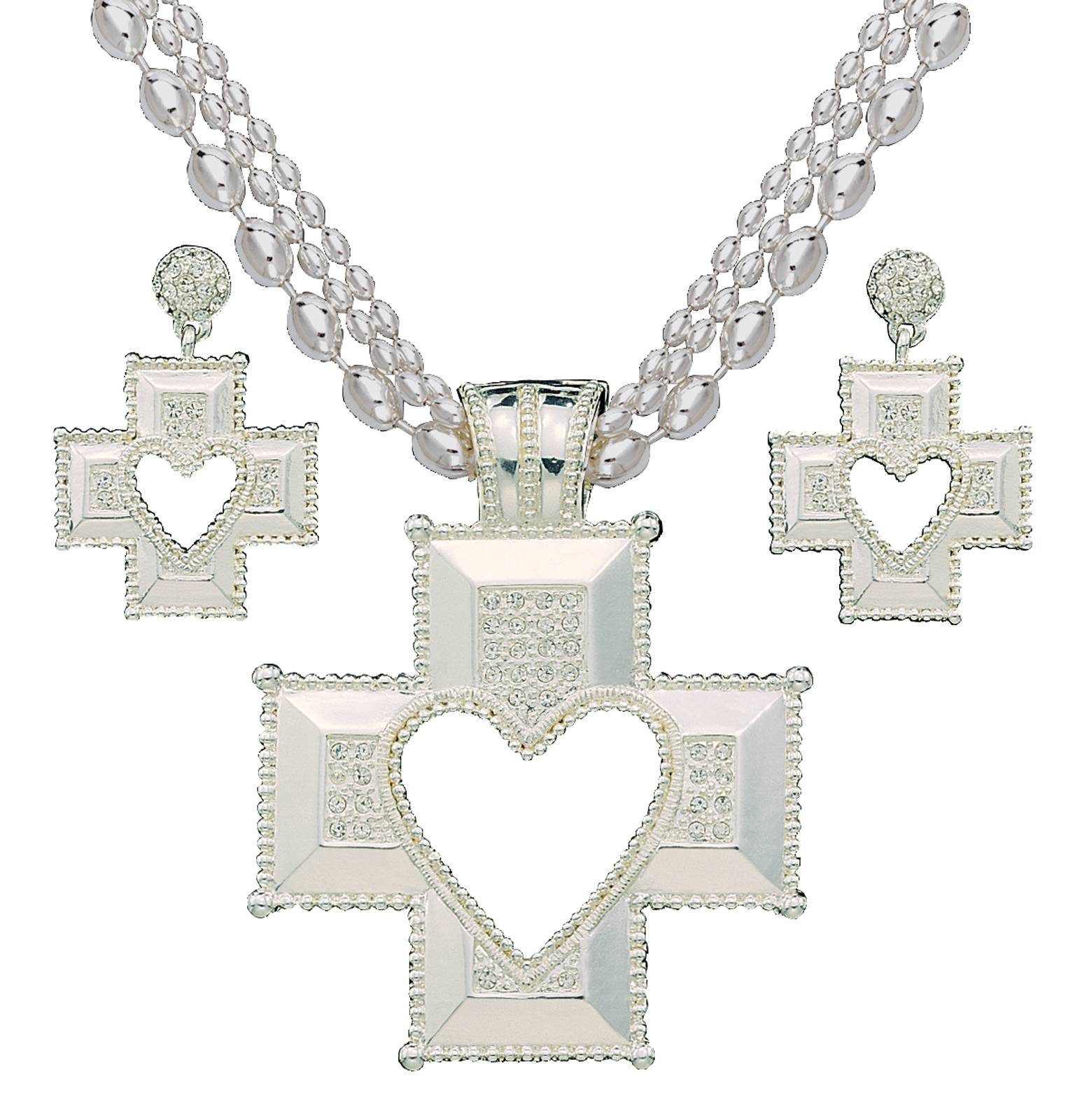 Montana Silversmiths Silver Heart Cross Jewelry Set