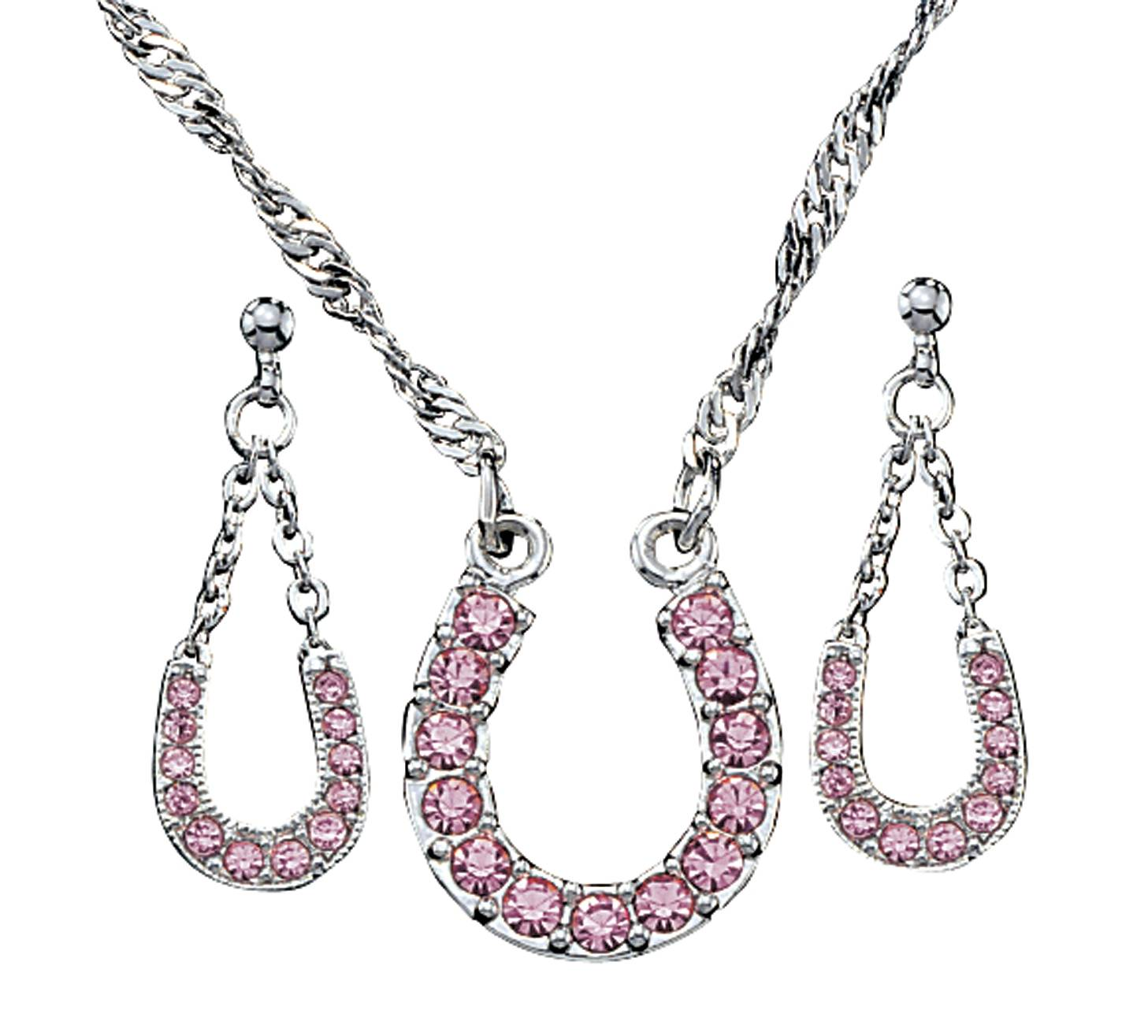 Montana Silversmiths Pink Ice Lucky Horseshoe Jewelry Set