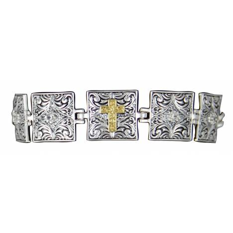 Montana Silversmiths Stepping Stone Links Bracelet with Cross