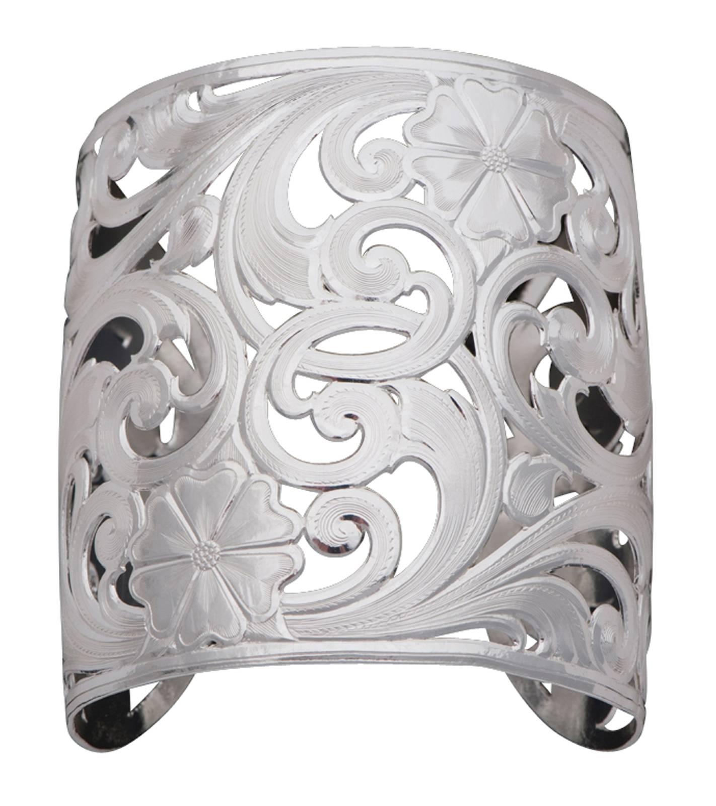 Montana Silversmiths Silver Spring Filigree Flowers and Vines Wide Cuff Bracelet