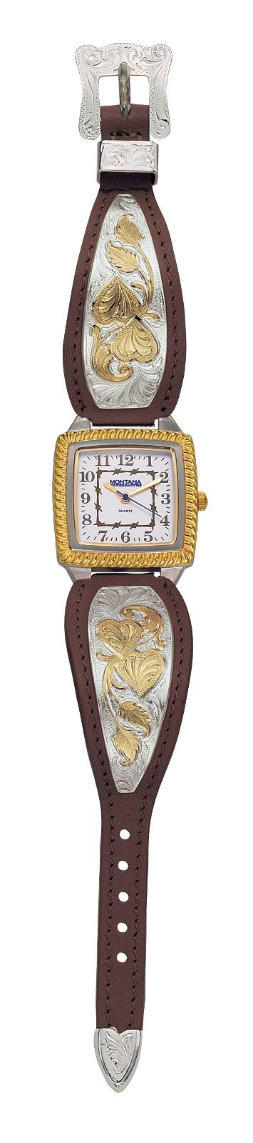 Montana Silversmiths Ladies Hearts of Gold Brown Leather Watch, Lg Square Face