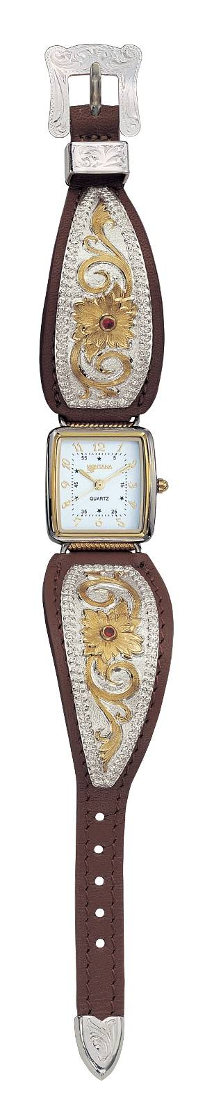 Montana Silversmiths Two Tone Flower Filigree Ladies Brown Leather Band Watch