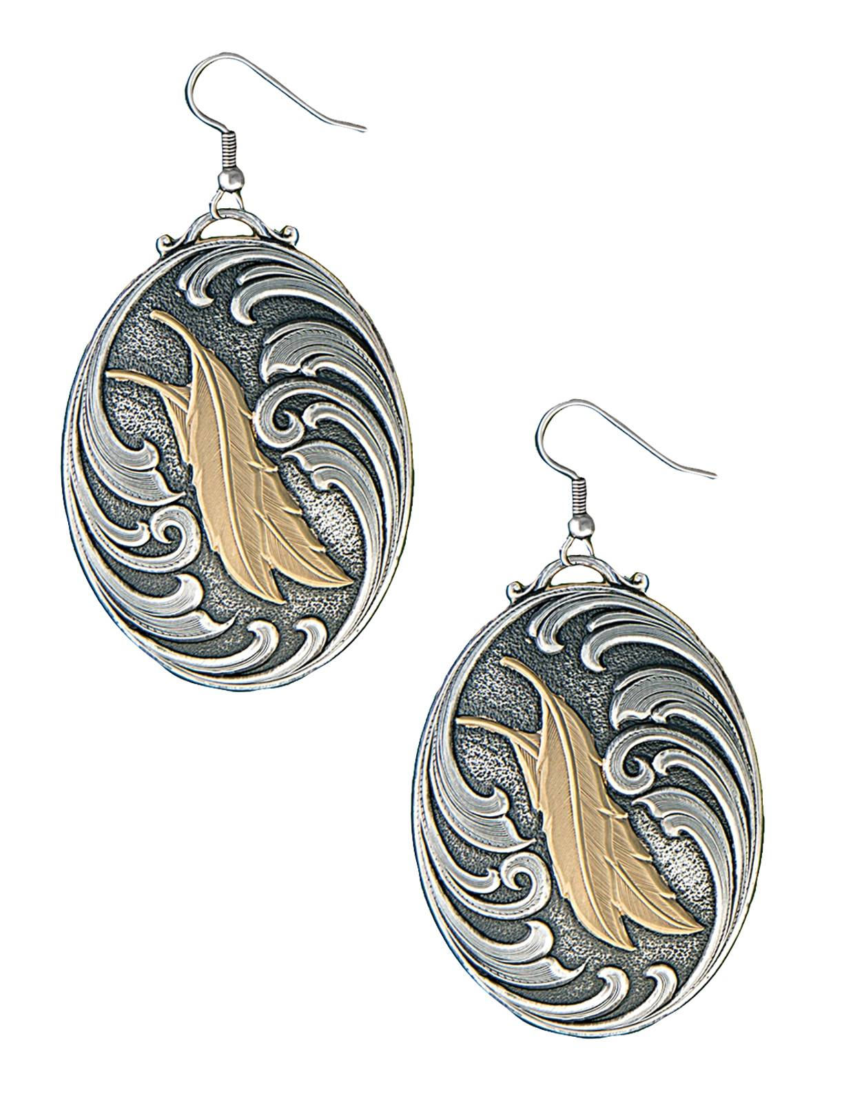 Montana Silversmiths Native Spirit Two Feathers Earrings