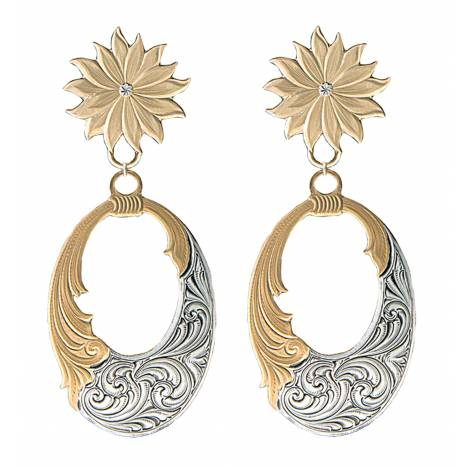 Montana Silversmiths Golden Bitterroot Mountain Wreath Earrings