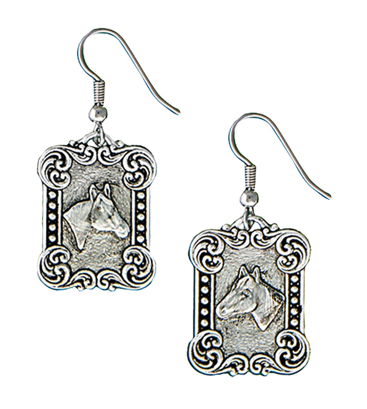 Montana Silversmiths Western Deco Rider's Cameo Dangle Earrings