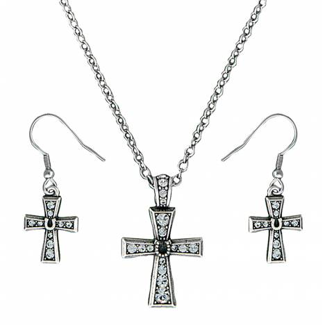 Montana Silversmiths Vintage Charm Horseshoe Cross Jewelry Set