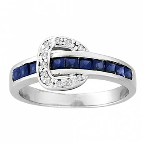 Kelly Herd Channel Set Buckle Ring- Blue