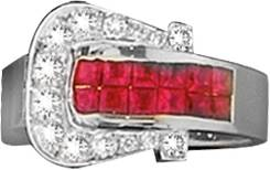 Kelly Herd Elegant Buckle Ring- Red