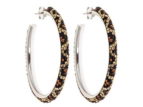 Kelly Herd Cheetah Pattern Large Hoop Earrings