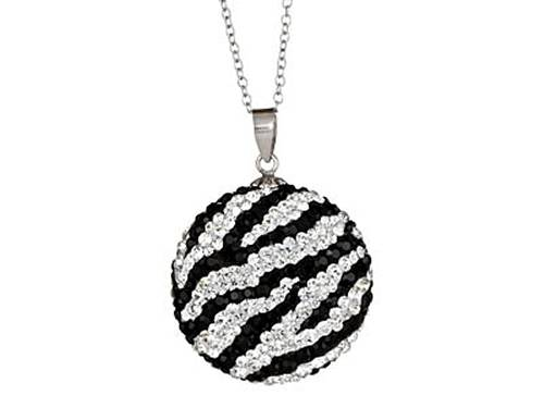 Kelly Herd Zebra Pattrn Circle Pendant Necklace