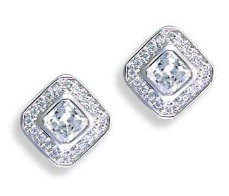 Kelly Herd Ladies Square Clear Earrings