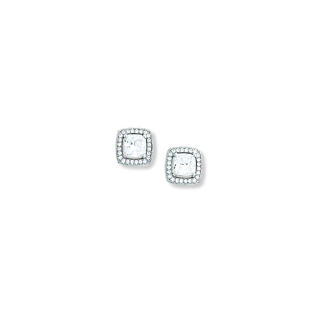 Kelly Herd Large Square Clear Earrings