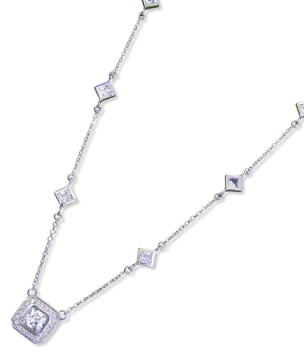 Kelly Herd Square Clear Necklace