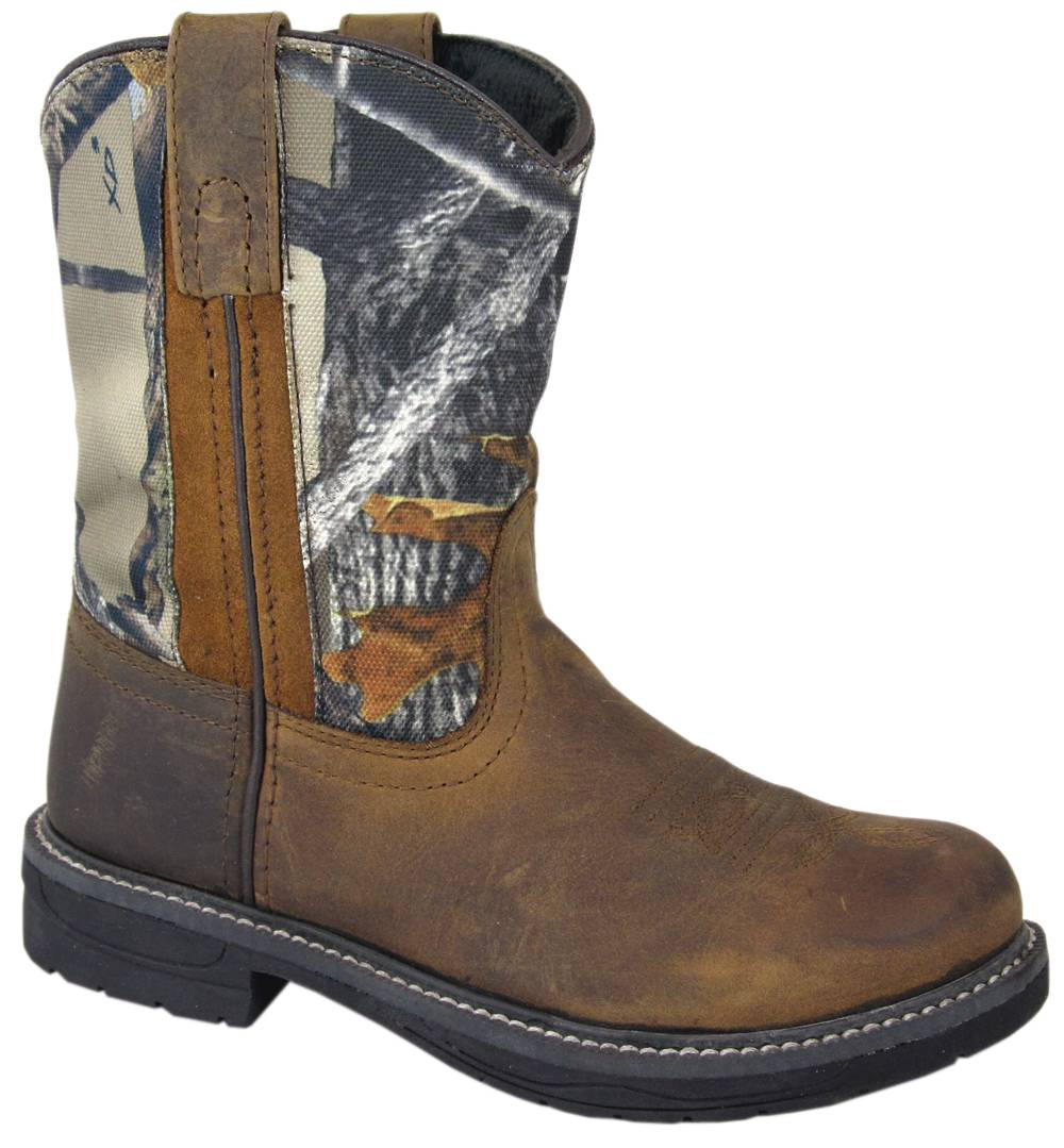 Smoky Mountain Buffalo Wellington Boots - Youth, Brown/Camo