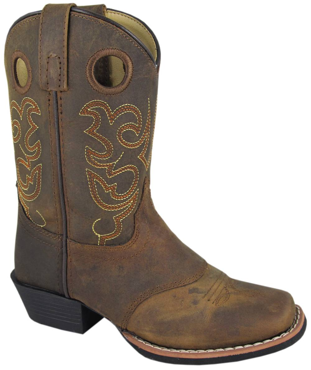 Smoky Mountain Sedona Western Boots - Kids, Brown Distress