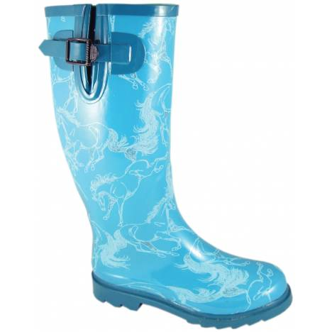Smoky Mountain Dancing Horses Waterproof Boots - Ladies, Turquoise