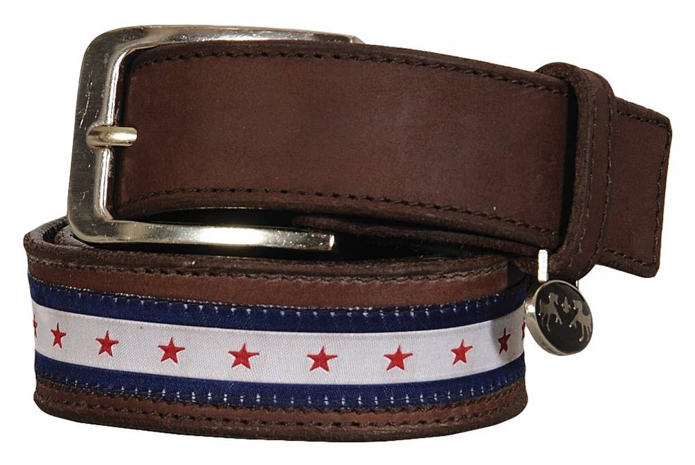 Equine Couture Stars & Stripes Leather Belt - Ladies