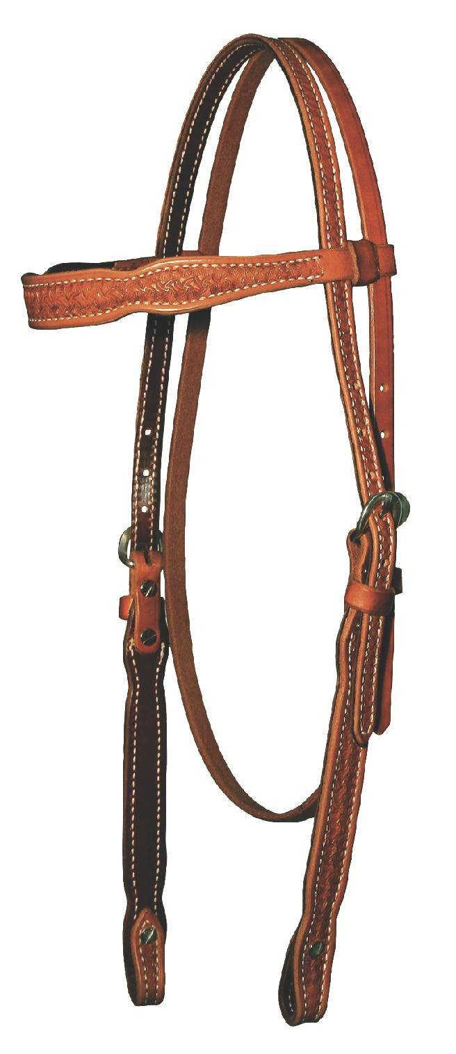 Outlet - Reinsman 5/8'' Tooled Spider Browband Headstall, Honey
