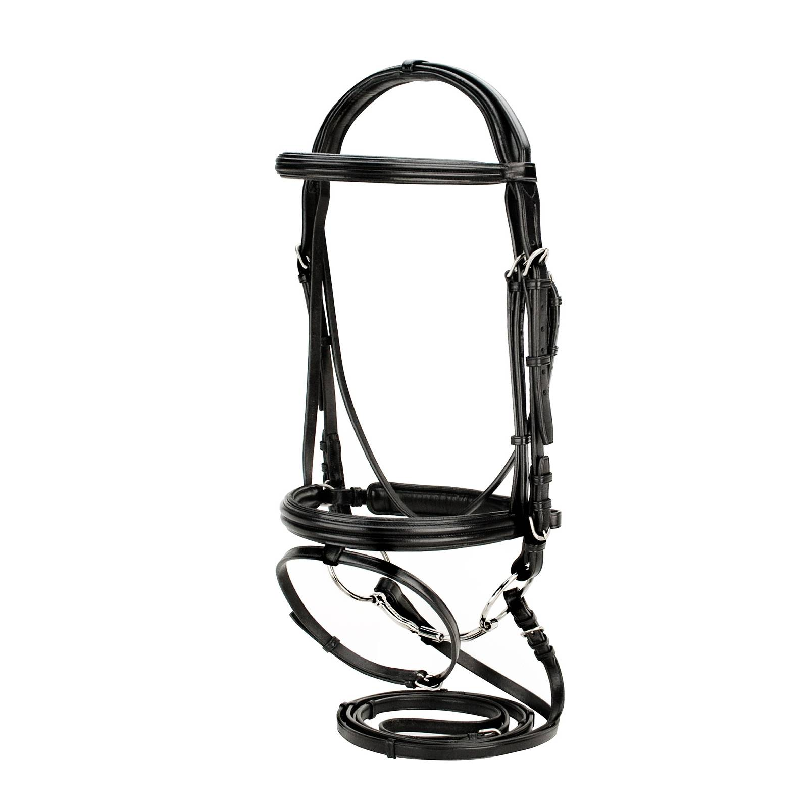Silverleaf Double Raised Padded Snaffle Bridle with Crank Noseband