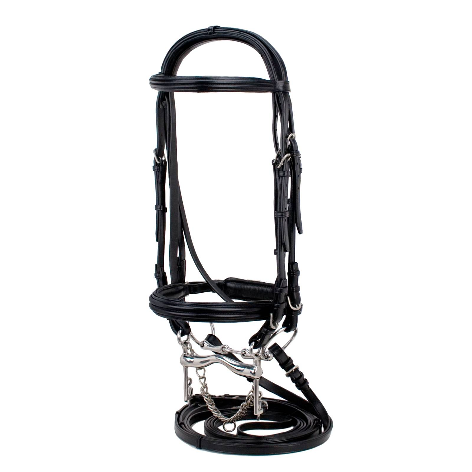 Silverleaf Double Raised Padded Double Bridle with Crank Noseband