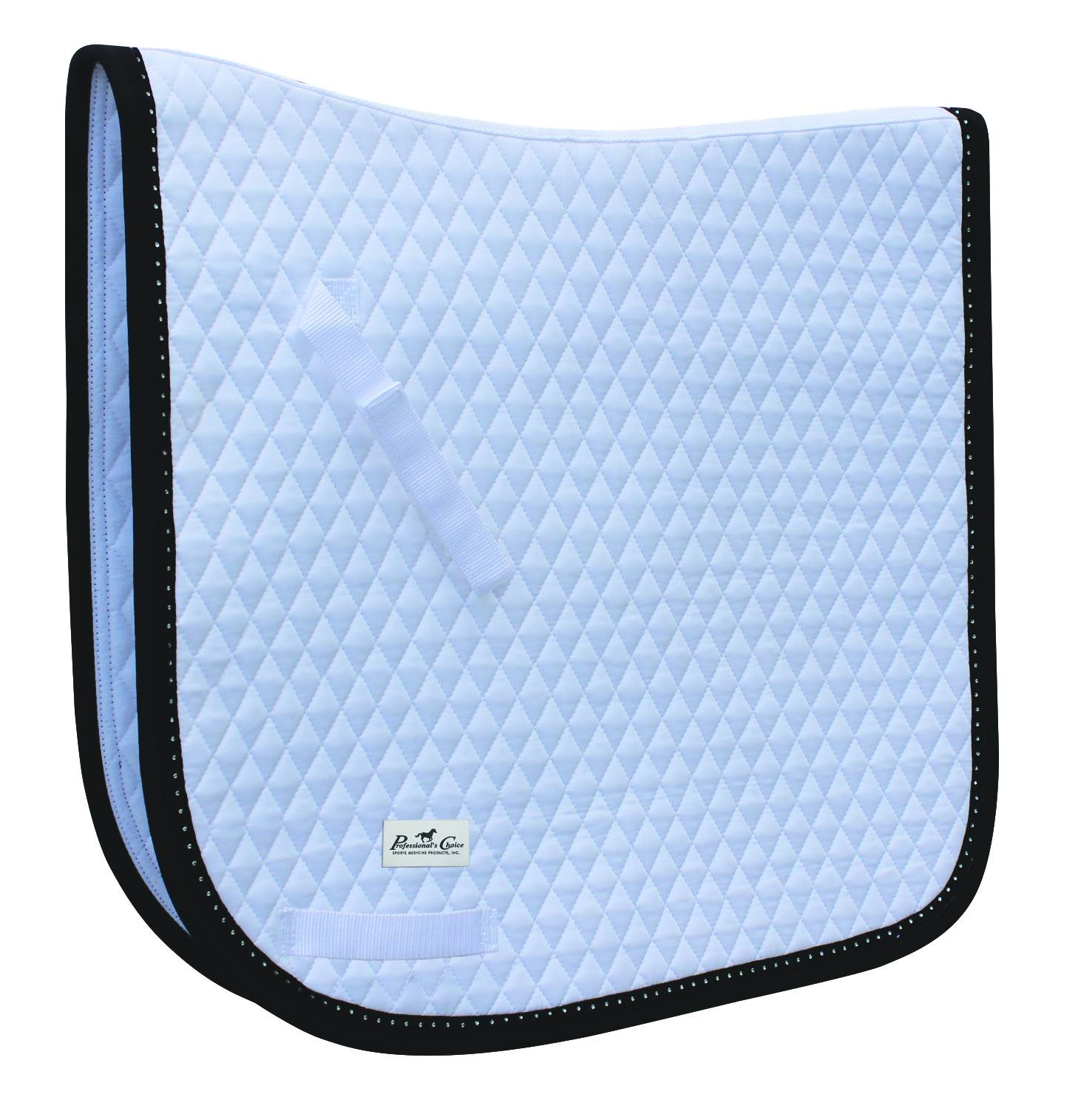 Professionals Choice Quilted Dressage Pad - Black Patent with Crystals