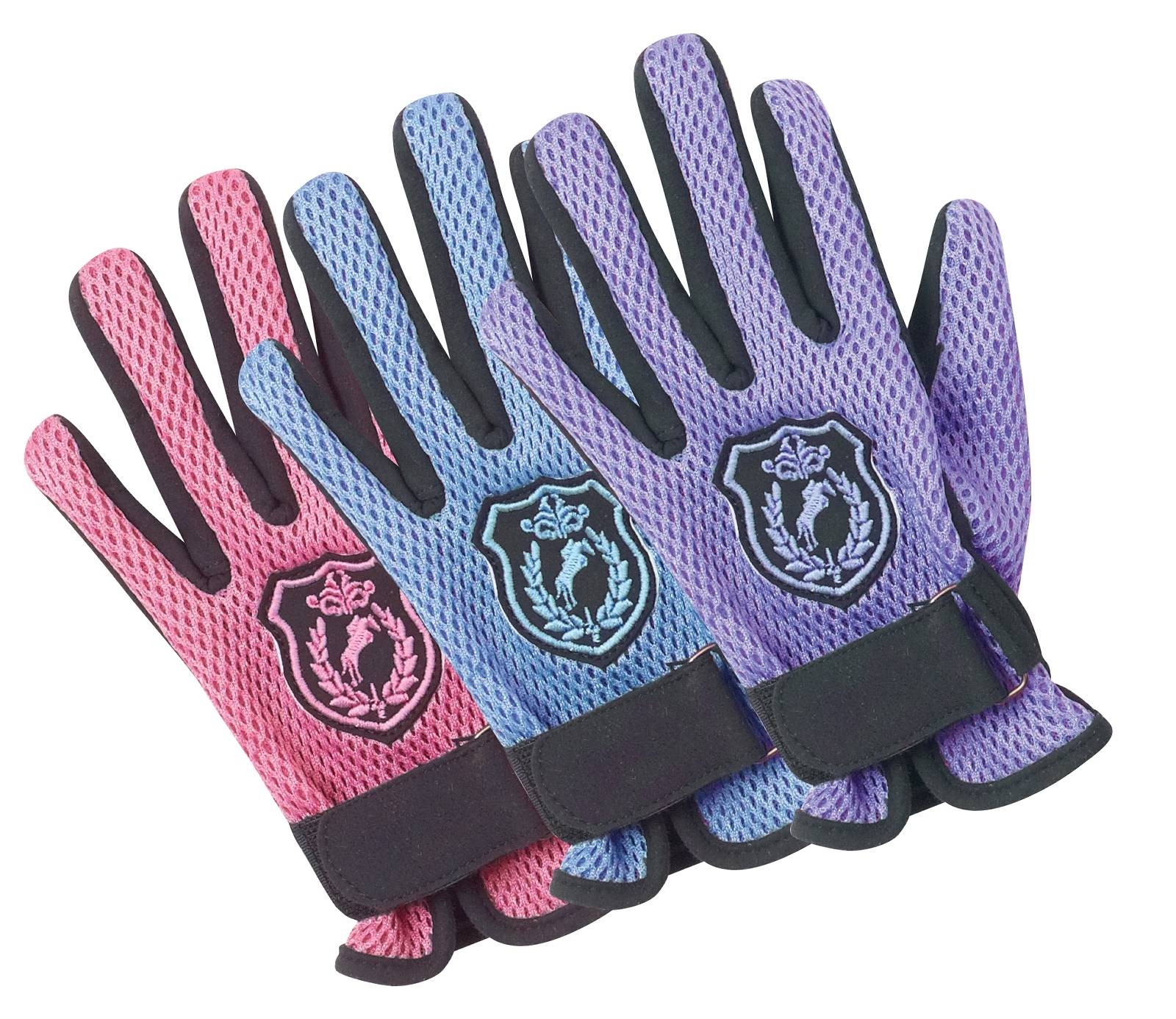 Ovation Mesh Back Glove - Kids, Horse Crest