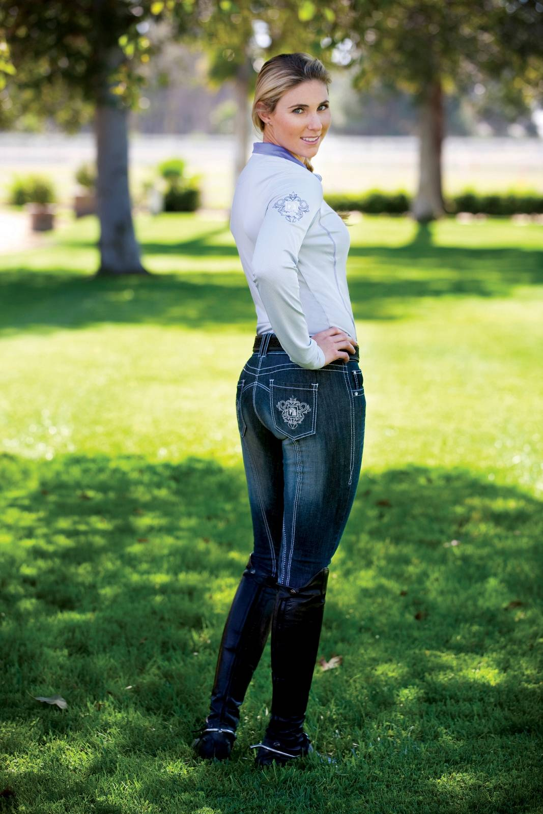 Romfh Faded Denim Euro Seat Breeches - Ladies, Knee Patch