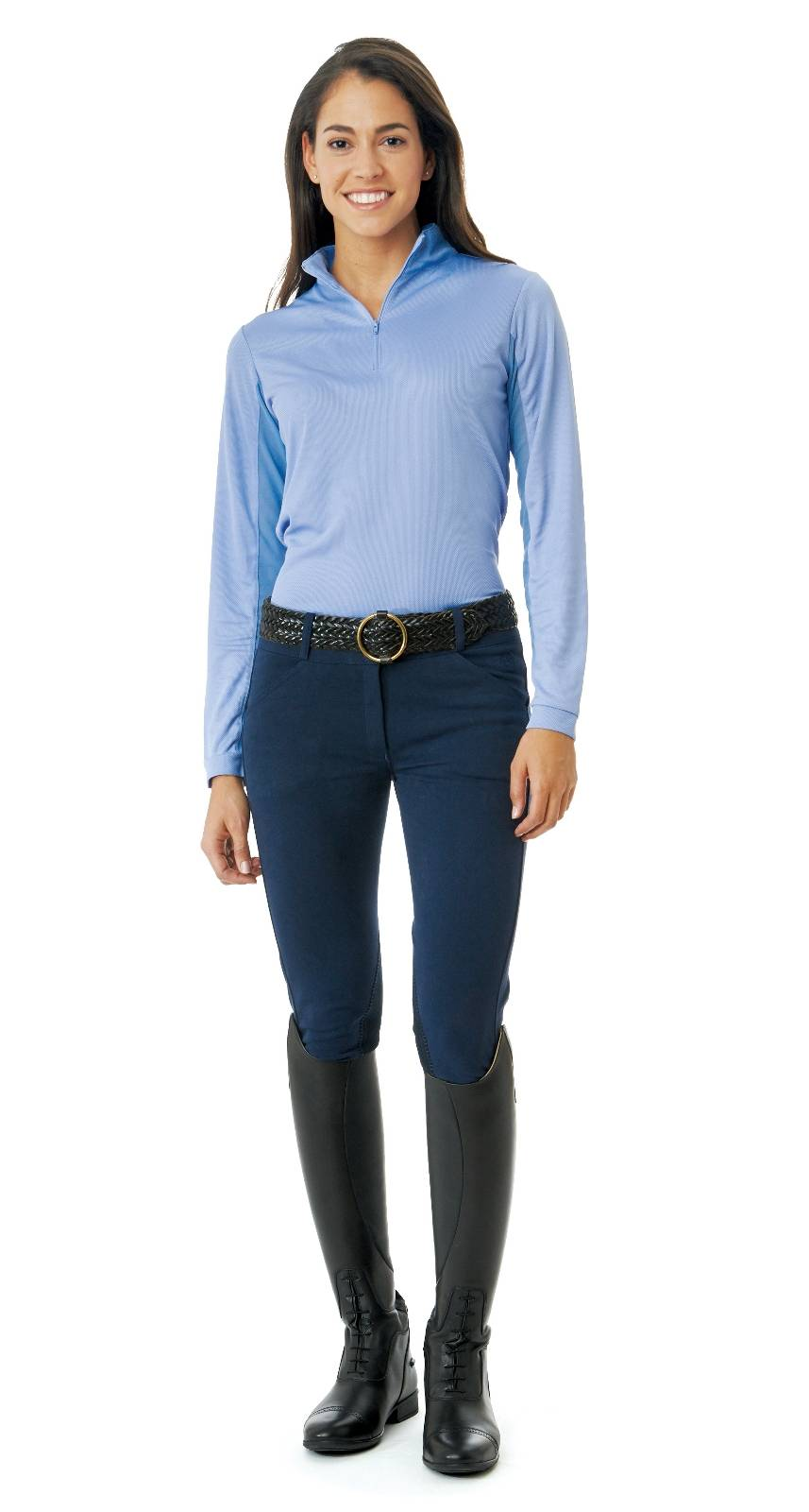Ovation Madeline Euroseat Front Zip Breeches - Ladies, Knee Patch