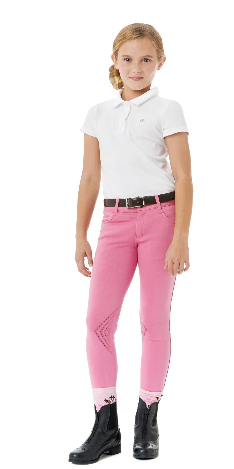 Ovation Silicone Front Zip Breeches - Kids, Knee Patch
