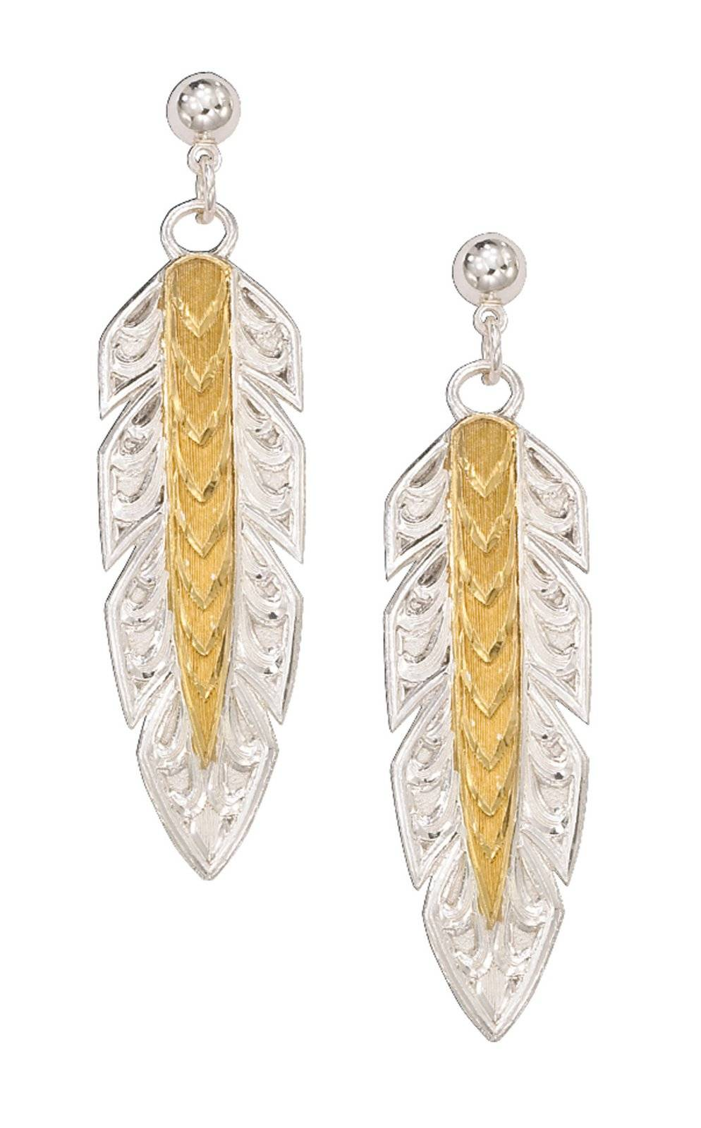Montana Silversmiths Silver And Gold Long Feather Dangle Earrings