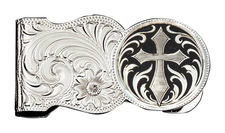 Montana Silversmiths Silver Engraved Scalloped Shape Money Clip with Silver Cross